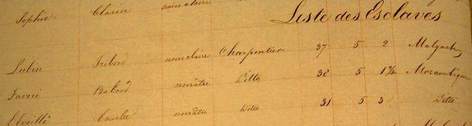 Liste des Esclaves
